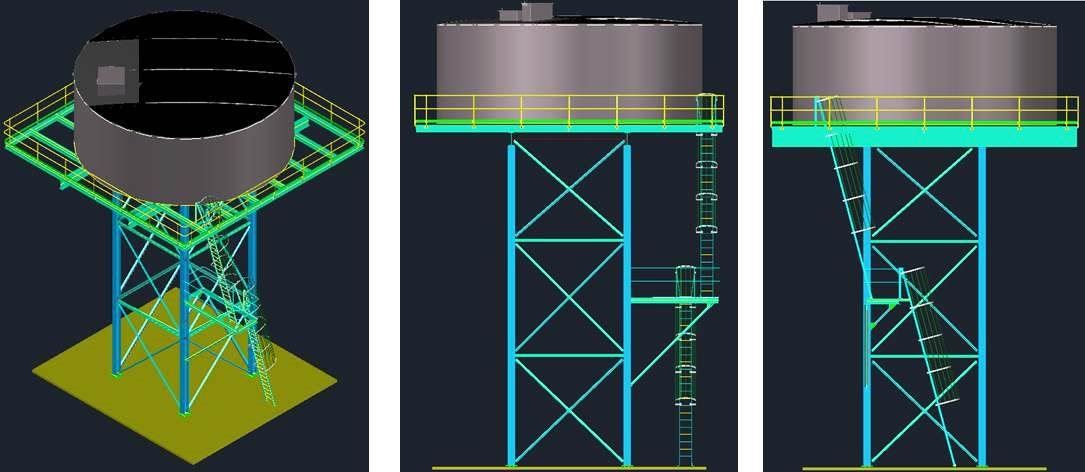 Elevated Water Tank and Stand || Mechminpro Professional Drafting